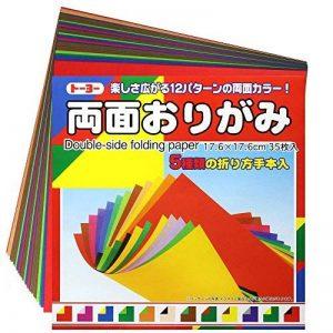 1 X Origami - Loisirs Créatifs - Papier Origami Bicolore - 12 Combinaisons de Couleurs - 35 feuilles - 17.6cm x 17.6cm de la marque image 0 produit