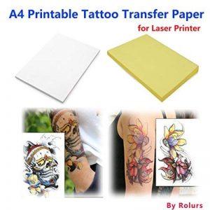 10feuilles de papier de tatouage temporaire au format A4. Pour des tatouages à faire soi-même de la marque Rolurs image 0 produit