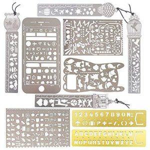 10 pcs Gabarits de Peinture Portable en Acier Inoxydable Pochoir de Dessin Modèle Règle Multifonctions Dessin Modèle Portable (10PCS) de la marque AONER image 0 produit