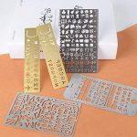 10 pcs Gabarits de Peinture Portable en Acier Inoxydable Pochoir de Dessin Modèle Règle Multifonctions Dessin Modèle Portable (10PCS) de la marque AONER image 2 produit