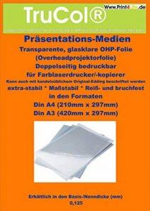 100 A4 feuilles OHP (transparents de rétroprojection papier transparent) pour imprimantes laser couleur, N / B imprimantes laser et copieurs de la marque trucol image 0 produit