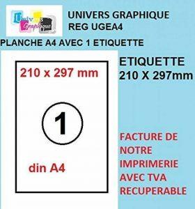 100 feuilles A4 papier adhésif blanc - Étiquette autocollante 210x297mm - planche adhésive permanente de 1 etiquette marque UNIVERS GRAPHIQUE- UGEA4 FACTURE AVEC TVA DÉDUCTIBLE de la marque UNIVERS GRAPHIQUE image 0 produit