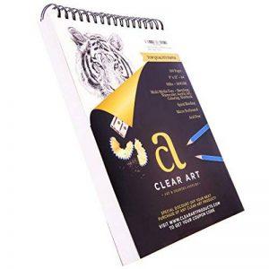 100feuilles de dessin–Bloc de dessin–croquis pour l'art–reliure spirale–22,9x 30,5cm–44,5kilogram–160g/m²–esquisse–Aquarelle–acryliques–Ordinateur portable–Papier de haute qualité de la marque Clear Art Products image 0 produit