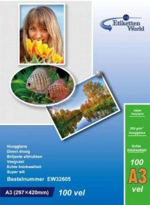 100feuilles de papier photo A3260g/m²: très brillant et étanche papier photo, compatible avec tous les Jet d'encre et imprimantes photo à partir de 100BV de la marque EtikettenWorld BV image 0 produit