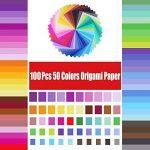 100 feuilles de papier pour origami Opret - 15 x 15 cm - 50 couleurs vives sur une face - Pour origami et travaux manuels de la marque Opret image 1 produit
