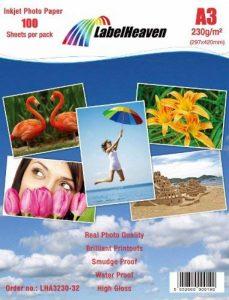 100 Feuilles LabelHeaven Papier Photo A3 230g/qm Ultra brillant Imperméable à l'eau de la marque LabelHeaven image 0 produit