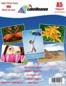 100 Feuilles LabelHeaven Papier Photo A5 180g/qm Ultra brillant Imperméable à l'eau de la marque LabelHeaven Ltd image 0 produit