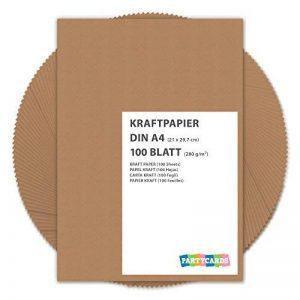 100 feuilles papier kraft - Papier Kraft DIN A4 280 g/m² Nature Carton de grande qualité Idéal pour travaux manuels, 3D Marron de la marque Partycards image 0 produit
