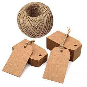 100 pcs Kraft Papier Étiquettes De Cadeau 7 * 4 cm Labels Étiquettes vierges avec ficelle de jute 100 pieds (marron) de la marque jijAcraft image 0 produit