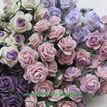 100pcs Mini Rose mixte Violet Couleur papier mûrier Fleur 10–15mm scrapbooking carte de mariage Fournitures de maison de poupée, par Amata Kufu élégant de la marque Amata Kufu Mulberry Paper Flowers image 1 produit