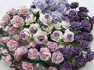 100pcs Mini Rose mixte Violet Couleur papier mûrier Fleur 10–15mm scrapbooking carte de mariage Fournitures de maison de poupée, par Amata Kufu élégant de la marque Amata Kufu Mulberry Paper Flowers image 0 produit