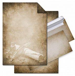 """'12feuilles papier """"Vintage Ancien avec stylo et le rouleau de papier de qualité Papier à lettre (Imprimé des Deux Côtés) + 10enveloppes DIN longues à anniversaire, Pâques, Noël & Co. de la marque Logbuch-Verlag image 0 produit"""