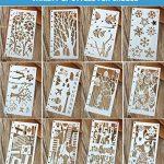 12 x Pochoir Formes Géométriques/constructions/fleurs/plantes(10*17.5 cm) Réutilisable Souple- Pour décorer votre Scrapbooking ou votre livre de la marque SuperHandwerk image 1 produit