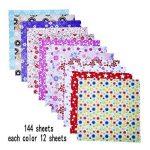 144 Feuilles Papier Origami Origami Kit 6 Par 6 Pouces, 12 Couleurs Et Motifs Différents de la marque eBoot image 1 produit