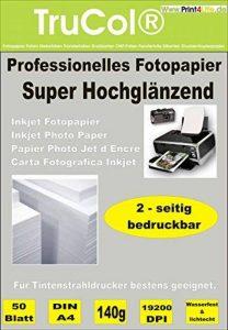 150 feuilles de format A4 Super High Glossy recto-verso du papier photo 140g /m² TOP !!! Revêtue des deux côtés jet d'encre très brillant - papier de la marque trucol image 0 produit