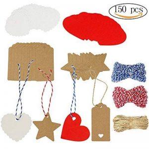 150 pcs Kraft Papier Étiquettes De Cadeau Papier Couper Étiquettes Suspendues en 4 Styles avec des Cordes Parfait pour DIY Arts et Métiers de la marque vamai image 0 produit