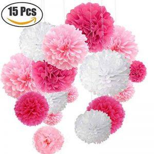"""15pcs papier fleur pompon boule à suspendre 6"""",10"""",12"""" rose décor mariage fête de la marque MAKFORT image 0 produit"""