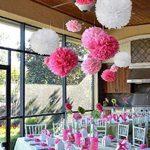 """15pcs papier fleur pompon boule à suspendre 6"""",10"""",12"""" rose décor mariage fête de la marque MAKFORT image 2 produit"""