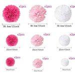 """15pcs papier fleur pompon boule à suspendre 6"""",10"""",12"""" rose décor mariage fête de la marque MAKFORT image 3 produit"""
