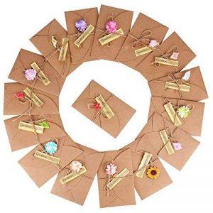 (17,5 x 11cm)16pcs Carte de Voeux avec Fleurs Séchées Etiquettes et Enveloppes, Rétro Kraft Fait à la Main, Carte Postale Pour Personne Spéciale ou Occasion Importante de la marque DEOMOR image 0 produit