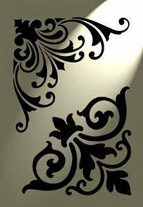 2 designs Pochoir-Coin décoré Style Shabby Chic Vintage français A4 de décoration murale Motif damas de la marque Solitarydesign image 0 produit