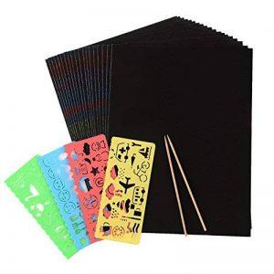 20 Feuilles 21 par 28 cm Magic Scratch Scratch Paper Noir Papier de Peinture avec 2 Pièces Stylet en Bois et 4 Pièces Règles de Peinture de la marque BBTO image 0 produit