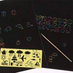 20 Feuilles 21 par 28 cm Magic Scratch Scratch Paper Noir Papier de Peinture avec 2 Pièces Stylet en Bois et 4 Pièces Règles de Peinture de la marque BBTO image 2 produit