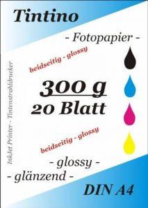 20 feuilles de Papier Photo Double-face A4 300 g/m ²-Double-Face brillant à séchage rapide, résistant à l'eau Blanc brillant Très haute brillance pour imprimante jet d'encre de la marque Tintino image 0 produit