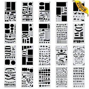 20 Pièces Bullet Journal Pochoir,Jwlife plastique Planner Pochoirs pour Journal/Agenda/Portable/Scrapbook DIY Pochoir de gabarit de dessin 10,2 x 17,8 cm de la marque Jwlife image 0 produit