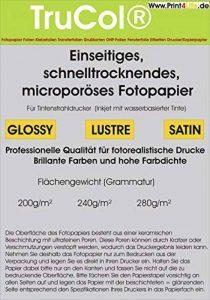 200 feuilles Quick Dry glacé Premium Photo Paper 280g /m² à jet d'encre 10,2cmx15,2cm (4 x 6 pouces) 9600 dpi DIN A6. Séchage rapide, micro papier photo poreuse. Qui est commercialisé notamment par une importante discounter allemand. de la marque trucol image 0 produit