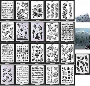 21 pochoirs à dessin à modèles définis, pour création d'enfants, scrapbooking, bricolages, albums, accessoires, cartes et projets d'artisanat, parfaits pour une utilisation avec votre Bullet Journal (A) de la marque Flyming image 0 produit