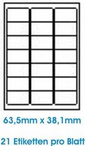 2100 pcs. BLANC étiquettes étiquette adhésive de l'étiquette d'adresse Format 63.5x38.1mm , 100 feuilles DIN A4, 70g/qm, approprié pour les imprimantes à jet d'encre, imprimantes laser et photocopieurs. de la marque Print4Life image 0 produit