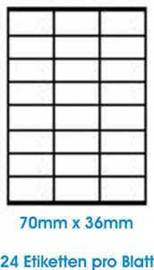 2400 pcs. BLANC étiquettes étiquette adhésive de l'étiquette d'adresse Format 70x36mm , 100 feuilles DIN A4, 70g/qm, approprié pour les imprimantes à jet d'encre, imprimantes laser et photocopieurs. de la marque Print4Life image 0 produit