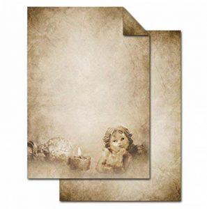 '25feuilles de papier ancien vintage Motif Ange comme papier à lettres de Noël de qualité–Carte, carte Menu Invitation à lave-vaisselle.–DIN A4, 100g, imprimé des deux côtés de la marque Logbuch-Verlag image 0 produit