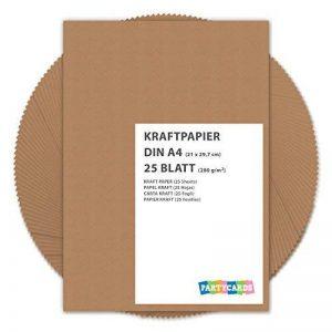 25 Feuilles Papier Kraft DIN A4 280 g/m² Nature Carton de grande qualité Idéal pour travaux manuels marron mariage cartes invitation de la marque Partycards image 0 produit