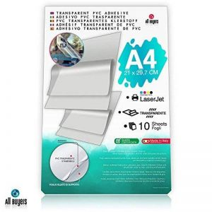 2AINTIMO Feuilles de papier Autocollantes En vinyle Format A4(21cm x 29,7cm) Papier brillant 5–10–15–20–25 Pour imprimantes laser Transparentes de la marque 2AINTIMO image 0 produit