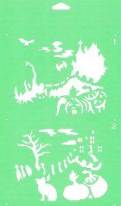 30cm x 17.5cm Pochoir (2 étapes) Réutilisable en PCV Plastique Transparent Souple Trace Gabarit - Traçage Illustration Conception de Gâteau Murs Toile Tissu Meubles Décoration Aérographe Airbrush - Veille de la toussaint Château Paysage Halloween de la ma image 0 produit