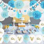 32ps décorations de douche de bébé pour garçon c'est une bannière Boy Bunting, Oh Baby Ballons, c'est un garçon Ballons avec des pompons de papier de soie et des lanternes en papier Honeycom Balls pour garçon Baby Shower Decor de la marque Furuix image 1 produit