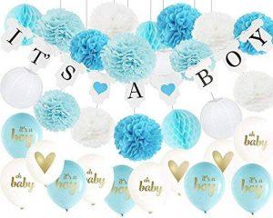 32ps décorations de douche de bébé pour garçon c'est une bannière Boy Bunting, Oh Baby Ballons, c'est un garçon Ballons avec des pompons de papier de soie et des lanternes en papier Honeycom Balls pour garçon Baby Shower Decor de la marque Furuix image 0 produit