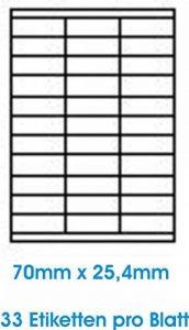3300 pcs. BLANC étiquettes étiquette adhésive de l'étiquette d'adresse Format 70x25.4mm , 100 feuilles DIN A4, 70g/qm, approprié pour les imprimantes à jet d'encre, imprimantes laser et photocopieurs. de la marque Print4Life image 0 produit