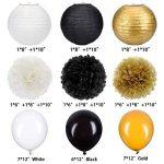 35 Pièces Kit de Décoration de Fête Papier Tissu Pom Poms Lanternes de Papier Ballons de Fête Or Blanc Noir pour les Fournitures de Mariage Fête Décorations d'Anniversaire de la marque Outus image 1 produit
