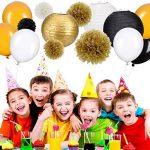 35 Pièces Kit de Décoration de Fête Papier Tissu Pom Poms Lanternes de Papier Ballons de Fête Or Blanc Noir pour les Fournitures de Mariage Fête Décorations d'Anniversaire de la marque Outus image 4 produit