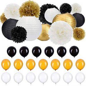 35 Pièces Kit de Décoration de Fête Papier Tissu Pom Poms Lanternes de Papier Ballons de Fête Or Blanc Noir pour les Fournitures de Mariage Fête Décorations d'Anniversaire de la marque Outus image 0 produit