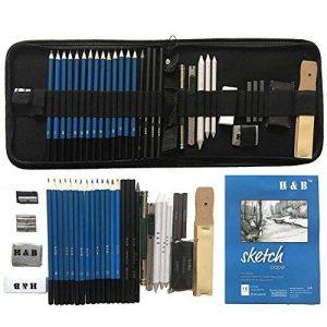 36 PCS Set d'art de Crayons Fusain Pour Dessin et croquis, Materiel Dessin Professionnel Gommes à effacer et aiguisoirs Carnet de croquis a5 - idéal pour les travaux scolaires et professionnels de la marque Flyv image 0 produit
