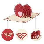 3d Pop Up Cartes de vœux Fantastique Fleur faite à la main carte cadeau Origami et Kirigami pour la Saint Valentin Anniversaire anniversaire d'invitation de mariage Amour cadeaux, Rows of Red Roses de la marque Ragetorc image 6 produit