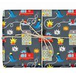 4x Cadeau Papier pompiers/Dino pour enfant: feuilles double DIN A2(certifiée, en papier recyclé) + 1x carte postale   pour garçons et filles   Made in Germany de la marque dabelino image 2 produit