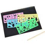 40 feuilles papier à gratter pour les enfants Rainbow Scratch Art papier papiers de peinture Magic Scratch conseils avec fond Scratch Art feuilles 19 * 26cm + 10 bois Stylus Sticks + 4 pochoirs avec 73 modèles (papier) de la marque Fashionbabies image 3 produit