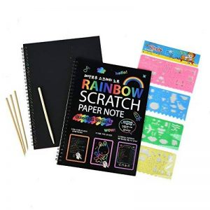 40 feuilles papier à gratter pour les enfants Rainbow Scratch Art papier papiers de peinture Magic Scratch conseils avec fond Scratch Art feuilles 19 * 26cm + 10 bois Stylus Sticks + 4 pochoirs avec 73 modèles (papier) de la marque Fashionbabies image 0 produit