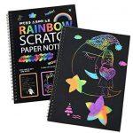 40 feuilles papier à gratter pour les enfants Rainbow Scratch Art papier papiers de peinture Magic Scratch conseils avec fond Scratch Art feuilles 19 * 26cm + 10 bois Stylus Sticks + 4 pochoirs avec 73 modèles (papier) de la marque Fashionbabies image 1 produit