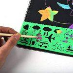 40 feuilles papier à gratter pour les enfants Rainbow Scratch Art papier papiers de peinture Magic Scratch conseils avec fond Scratch Art feuilles 19 * 26cm + 10 bois Stylus Sticks + 4 pochoirs avec 73 modèles (papier) de la marque Fashionbabies image 4 produit